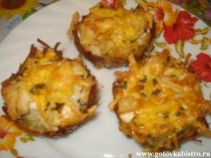 Картофельные корзинки с куриным филе