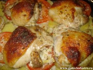 Куриные бедра маринованные в кефире с картошкой